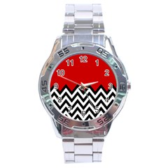 Chevron Red Stainless Steel Analogue Watch by AnjaniArt