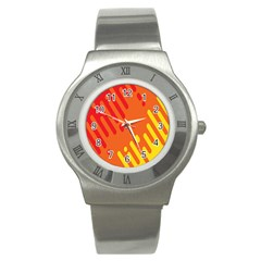 Color Minimalism Red Yellow Stainless Steel Watch by AnjaniArt