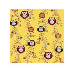 Cheery Owls Yellow Small Satin Scarf (square) by AnjaniArt