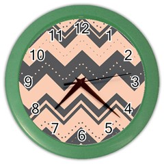Chevron Ideas Gray Colors Combination Color Wall Clocks by AnjaniArt