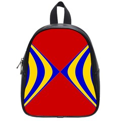 Concentric Hyperbolic Red Yellow Blue School Bags (small)