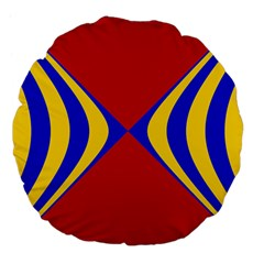 Concentric Hyperbolic Red Yellow Blue Large 18  Premium Flano Round Cushions by AnjaniArt