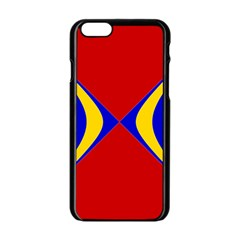 Concentric Hyperbolic Red Yellow Blue Apple Iphone 6/6s Black Enamel Case by AnjaniArt