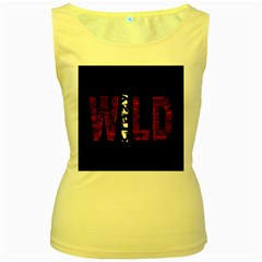 Crazy Wild Style Background Font Words Women s Yellow Tank Top by AnjaniArt