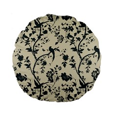 Cottonwood White Leaf Wallpaper Bird Standard 15  Premium Flano Round Cushions by AnjaniArt