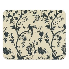 Cottonwood White Leaf Wallpaper Bird Double Sided Flano Blanket (large)  by AnjaniArt