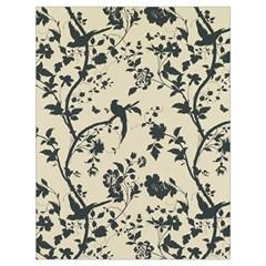 Cottonwood White Leaf Wallpaper Bird Drawstring Bag (large) by AnjaniArt