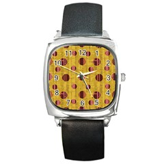 Dot Mustard Square Metal Watch by AnjaniArt