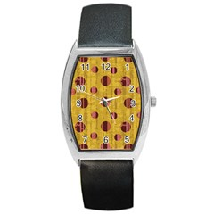 Dot Mustard Barrel Style Metal Watch by AnjaniArt
