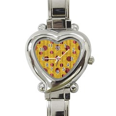 Dot Mustard Heart Italian Charm Watch by AnjaniArt