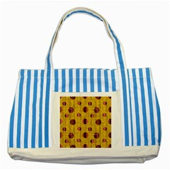 Dot Mustard Striped Blue Tote Bag by AnjaniArt