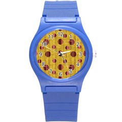 Dot Mustard Round Plastic Sport Watch (s) by AnjaniArt