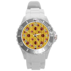 Dot Mustard Round Plastic Sport Watch (l) by AnjaniArt