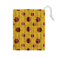 Dot Mustard Drawstring Pouches (large)  by AnjaniArt