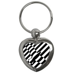 Flaying Bird Black White Key Chains (heart)  by AnjaniArt