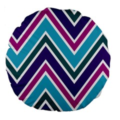 Fetching Chevron White Blue Purple Green Colors Combinations Cream Pink Pretty Peach Gray Glitter Re Large 18  Premium Round Cushions by AnjaniArt