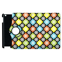 Diamond Argyle Pattern Flower Apple Ipad 3/4 Flip 360 Case by AnjaniArt