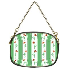 Flower Background Green Chain Purses (one Side)  by AnjaniArt