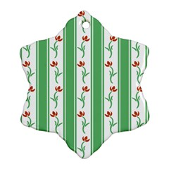 Flower Background Green Snowflake Ornament (2-Side) by AnjaniArt