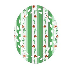 Flower Background Green Ornament (oval Filigree)