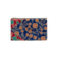 Floral Red Blue Flower Cosmetic Bag (small)  by AnjaniArt