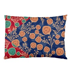 Floral Red Blue Flower Pillow Case (two Sides) by AnjaniArt