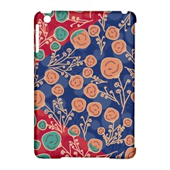 Floral Red Blue Flower Apple Ipad Mini Hardshell Case (compatible With Smart Cover) by AnjaniArt