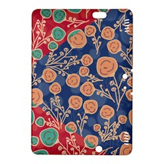 Floral Red Blue Flower Kindle Fire Hdx 8 9  Hardshell Case by AnjaniArt