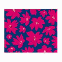 Flower Red Blue Small Glasses Cloth (2 Side) by AnjaniArt
