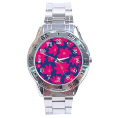 Flower Red Blue Stainless Steel Analogue Watch by AnjaniArt