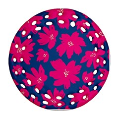 Flower Red Blue Ornament (round Filigree)  by AnjaniArt