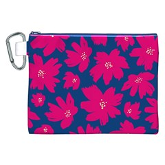 Flower Red Blue Canvas Cosmetic Bag (xxl) by AnjaniArt