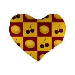 Fruit Pattern Standard 16  Premium Flano Heart Shape Cushions by AnjaniArt