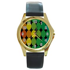Geometry Round Colorful Round Gold Metal Watch by AnjaniArt