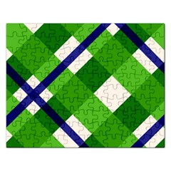 Green Plaid Rectangular Jigsaw Puzzl by AnjaniArt