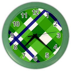 Green Plaid Color Wall Clocks by AnjaniArt