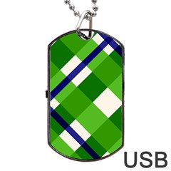 Green Plaid Dog Tag Usb Flash (two Sides)  by AnjaniArt