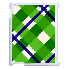 Green Plaid Apple Ipad 2 Case (white) by AnjaniArt