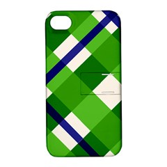 Green Plaid Apple Iphone 4/4s Hardshell Case With Stand by AnjaniArt