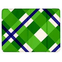 Green Plaid Samsung Galaxy Tab 7  P1000 Flip Case by AnjaniArt