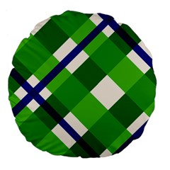 Green Plaid Large 18  Premium Flano Round Cushions by AnjaniArt