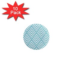 Geometric Blue 1  Mini Magnet (10 Pack)  by AnjaniArt