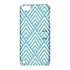 Geometric Blue Apple Ipod Touch 5 Hardshell Case With Stand by AnjaniArt
