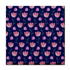 Flower Tulip Floral Pink Blue Face Towel by AnjaniArt