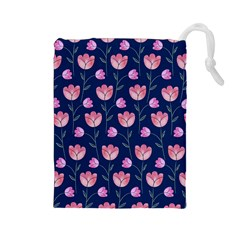 Flower Tulip Floral Pink Blue Drawstring Pouches (large)  by AnjaniArt