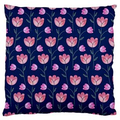 Flower Tulip Floral Pink Blue Large Flano Cushion Case (two Sides) by AnjaniArt