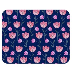 Flower Tulip Floral Pink Blue Double Sided Flano Blanket (medium)  by AnjaniArt
