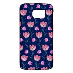 Flower Tulip Floral Pink Blue Galaxy S6 by AnjaniArt