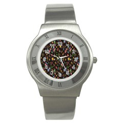 Happy Family Flower Home Sweet Bee Stainless Steel Watch by AnjaniArt