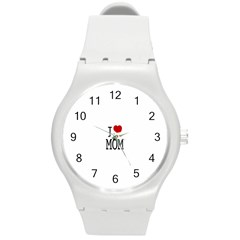 I Love Mom Round Plastic Sport Watch (m)